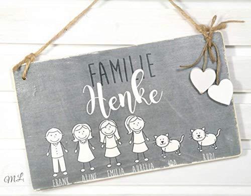 Türschild Familie individuell in Grau u. Weiß (Tolles Bild M)