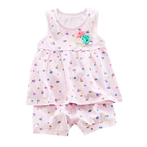 JUTOO Baby Mädchen 2 Stücke Set Kleinkind Sleeveless Ice Cream Print Weste Tops + Shorts Outfits Sets (Rosa,S/80)