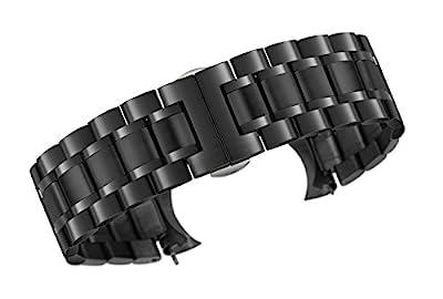 Bandas de Reloj de Lujo de Metal Negro Estilo ostra con Ambos Extremos curvos y Rectos Acero Inoxidable 316l