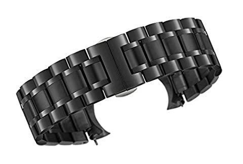 20mm Luxury Metal Watch Straps Solid Black Stainless Steel Heavy Type with Both Curved and Straight Ends Oyster