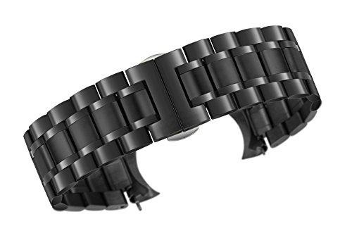 20mm Metallarmband einfarbig schwarz Edelstahl schwere Ausführung sowohl mit gebogenen und geraden Enden Auster Stil - Mido-uhr-band
