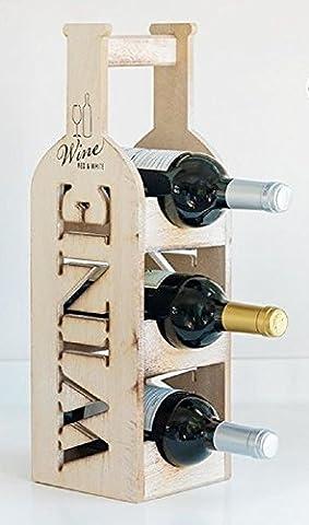PORTE-BOUTEILLE EN BOIS VINTAGE 14 x 46 x 14,5 CM 3 bouteilles