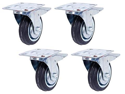 Lot de 4 Roulettes pivotantes avec frein (Set 125 mm TR-03d4) Roulette pivotante Armature en tôle acier galvanisée Roue Roulette pivotante à bandage caoutchouc noir Jantes à roulement à rouleaux Economique, silencieuse , non tachant