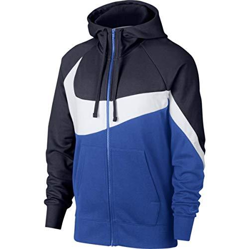 sale retailer a92d7 f430c Nike M NSW HBR Hoodie FZ FT STMT Sweat-Shirt Homme, Obsidian White