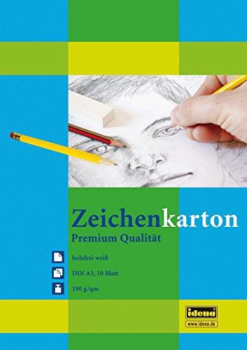 Zeichenkarton DIN A3, 10 Blatt, 190g/m², holzfrei weiß