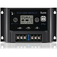 Sunix Controlador con Carga Solar 20A 12V/24V, Carga de Panel Solar Mejorada Regulador Inteligente con Fusible, Puerto USB Dual 5V 2A, Protección contra Sobrecarga, Compensación de Temperatura
