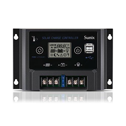 Sunix 10A 12V Solar Laderegler, erweiterter Solarpanel Laderegler mit Sicherung, Dual 5V 2A USB Port, Überlastschutz Temperaturkompensation