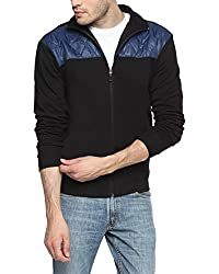 Campus Sutra Black and Blue Mens Jacket (AW15_JK_M_P10_BLBU_L)