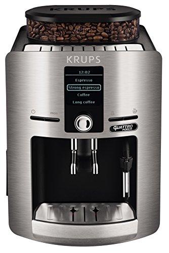 Krups Espresseria QF Plateada EA82FB - Cafetera super automática de 15 bares de presión, molinillo cónico y metálico, sistema de prensado ultraplano y sistema autoclean