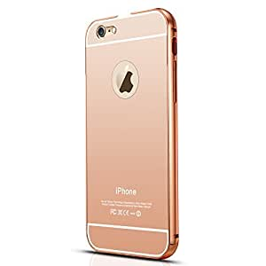 Apple iPhone 6 Plus Luxury Aluminium Bumper With Mirror Acrylic Back Cover - Rose Gold