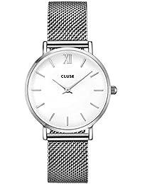 Cluse CL30009 - Mouvement Analogique - Affichage Analogique - Bracelet Acier inoxydable plaqué argent et Cadran blanc - Mixte