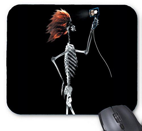 Classic Blowing Haar Skelett X-Ray Computer Zubehör rutschfeste Mauspad, rechteckig natur Gummi (Nerd Haar)