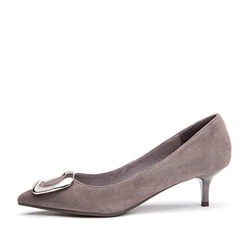 PUMPS Damen Flache Gläser und Fersen,Spitze Quadratische Schnalle Schuhe-B Fußlänge=24.3CM(9.6Inch)