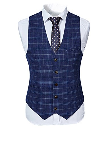 Herren Anzug 3-Teilig Slim Fit für Hochzeit und Party Dunkelblau