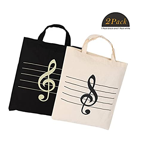 Action Cloud Cotton bag, Music Symbols Handbag Tote Shopping Bag,Music Book Bag and Gift of music lovers (MG-329 Black And