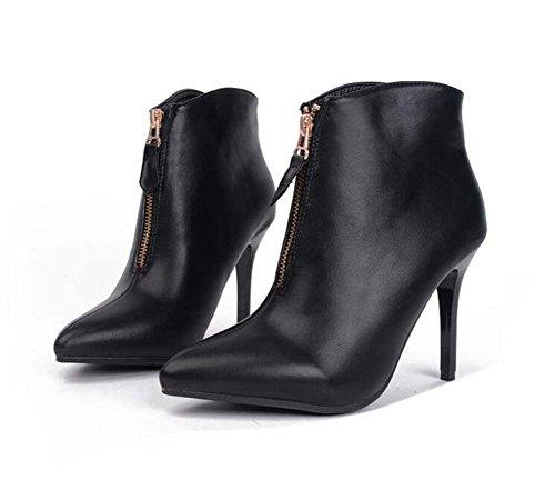 Bomba De 8.5cm Con Punta De Aguja Con Cremallera Con Cremallera Botas Martin Boots Mujer Dulce De Color Puro Bootie Zapatos De Vestir Ol Corte Zapatos De Talla Europea 35-40 Negro