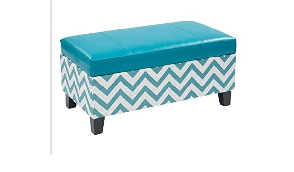 Outstanding Zig Zag Storage Ottoman Blue By Office Star Products Amazon Ocoug Best Dining Table And Chair Ideas Images Ocougorg
