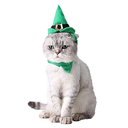 Kostüm Santa Little - Jnday Daunenjacke T-Shirt Regenjacken Hut für Hunde und Katzen, Cartoon-Design Santa's Little Helper Elf Hund Katze Leprechaun Set Halloween Weihnachten Party Haustier Kostüm Large Herbst Frühjahr