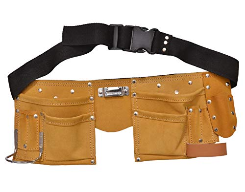 REAL stf 11 Pocket Leather Tool Bag with Steel Hammer Holder and Tape Holder (Tan)