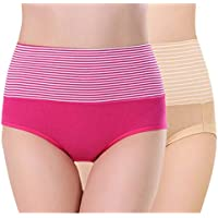 PLUMBURY® Women's Cotton High Waist Full Coverage Tummy Control Panty,Free Size