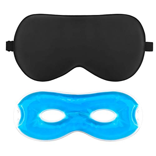 AJOXEL Schlafmaske Frauen Herren,Augenmaske Augenabdeckung für Schlaf Kühlmaske 100% Hautfreundlich Seide, Schlafmasken mit Verstellbarem Gummiband, Inklusive Ohrstöpsel & Aufbewahrungsbeutel