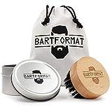 BARTFORMAT Bartbürste mit Wildschweinborsten aus Buchenholz mit praktischer Griffmulde -