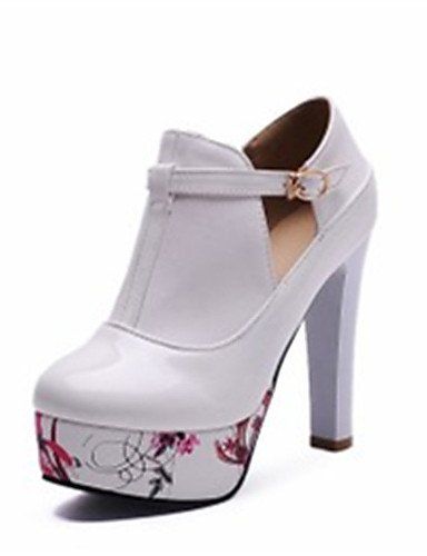 WSS 2016 Chaussures Femme-Mariage / Habillé / Décontracté / Soirée & Evénement-Noir / Blanc-Talon Aiguille-Talons-Talons-Similicuir white-us8.5 / eu39 / uk6.5 / cn40