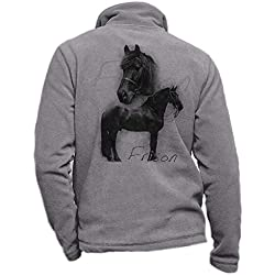 Pets-easy Veste en Polaire Gris personnalisé avec Un Frison - Tenue d'équitation Taille 2XL