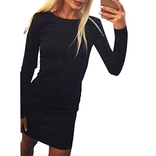 femmes dame licol fermeture eclair solide combinaison a manches longues mini robe Schwarz