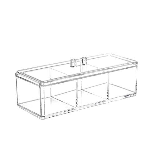 Leisial Cosmétiques Transparent Square Boîte de rangement en Plastique Sain Facile à Transporter Peut être Accommodé Tampon de Coton(Style A)