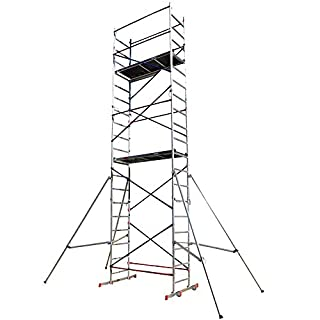 Aluminium Scaffold/Scaffolding Tower/Towers DIY Home Master 7m Working Height Massive 150kg Duty Rating with Free Colour Coded Braces and Fully Welded Frames - Brand New UK Design