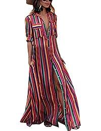 97255f3b9e73 Estivo Maxi Vestiti da Spiaggia Donna Casual Sciolto Mezza Manica Camicie  Vestito a Righe Moda Patchwork