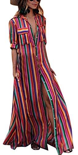 Estivo maxi vestiti da spiaggia donna casual sciolto mezza manica camicie vestito a righe moda patchwork abito da partito