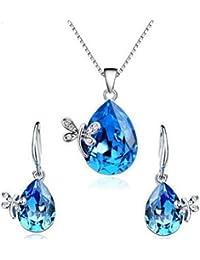 findout Papillon Papillon d'amour d'améthyste collier en argent sterling + boucle d'oreille (F473)