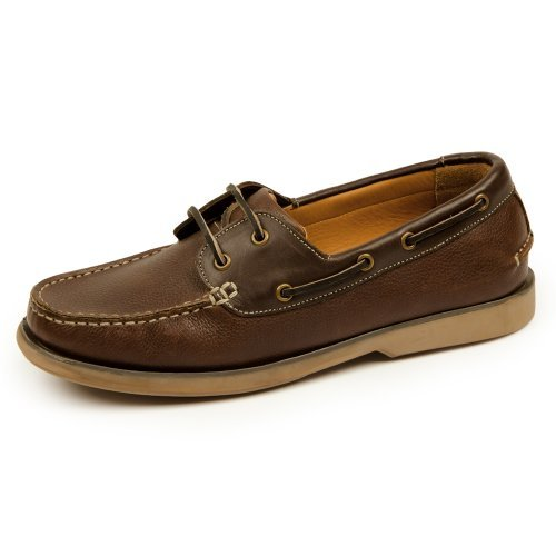 Samuel Windsor Men's Handmade Leather Slip-On and Lace-up Boat Deck Shoes With Blake Stitch In Brown, Tan, Mustard Ochre, Navy Blue. (9.5, Brown)