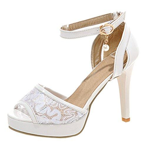 AIYOUMEI Damen Peep Toe Sandalen Pumps High Heels Stiletto Plateau Sandaletten mit Strass Hochzeit Schuhe 8WbKS9