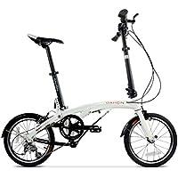 Monociclos Bicicleta Plegable Bicicleta de 16 Pulgadas de Velocidad Variable de aleación de Aluminio Unisex Ultraligera Bicicleta (Color : Blanco, Size : 150 * 30 * 108cm)