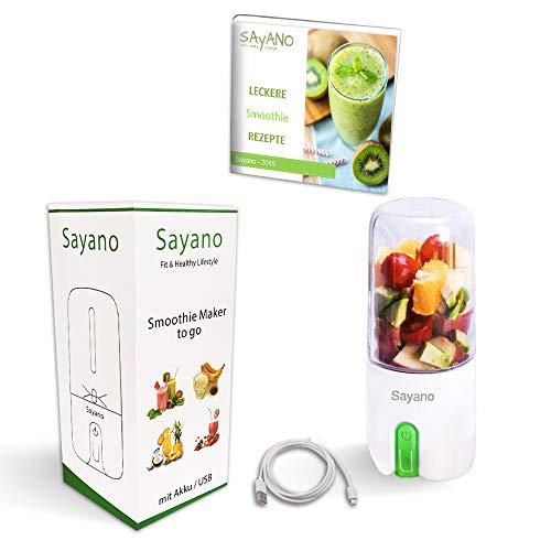 Sayano - Premium Smoothie Mixer/Maker to go mit USB aufladbar (Akku, 480ml, grün)