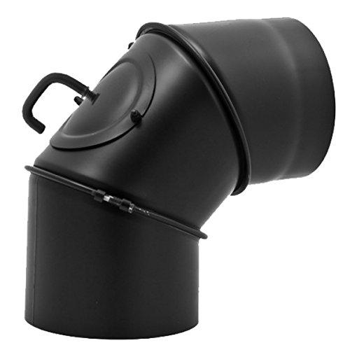 Ofenrohr Winkel drehbar 0° - 90° 3-teilig mit Drosselklappe und Tür für Kaminrohe / Raurohre / Ofenrohre mit Ø 150mm in schwarz