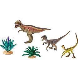 Giganotosaurus y el dinosaurio Velociraptor Conjunto