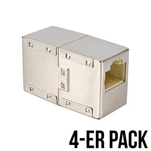 VESVITO 4-er Pack RJ45 LAN Kabel Crossover Kupplung geschirmt Verbinder Netzwerk Netzwerkkabel Modular Coupling Patchkabel für Verlängerung Ethernetkabel Adapter Netzwerkkoppler -