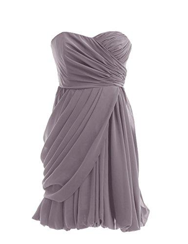 Dressystar Robe de demoiselle d'honneur/de soirée courte Sans Bretelles, en Mousseline Gris