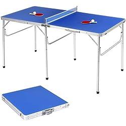 Goplus Table de Ping Pong Pliable avec 2 Balles et 2 Raquettes, Idéal pour Extérieur et Intérieur, Transport et Assemblage Faciles, Exercice d'Adulte et Enfant, Bleu 152,4 X 76,2 X 76,2CM