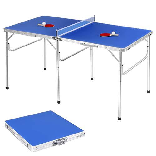 GOPLUS Set Tavolo da Ping Pong con Racchette da Ping Pong e 2 Palline, Table Tennis Pieghevole e Portatile, Interno&Esterno, in Legno, Blu 152,4x76,2x76,2cm