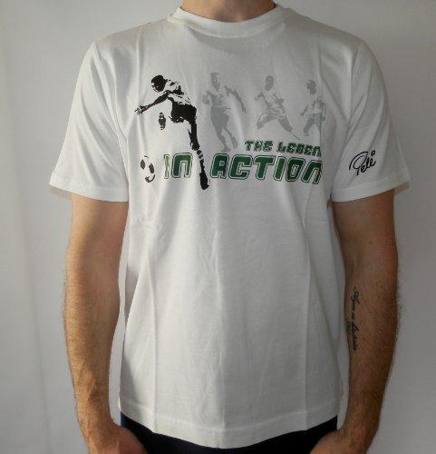 PUMA T-Shirt, Pele, The Legend in action,weiß, Gr.L (Nike T-shirt Outlet)