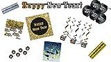 Dekoset Partyset Silvester schwarz Silber Gold: 2 x Luftschlangen, 2 x Konfetti, Picker & Swirldeko & Girlande & Ballons & Servietten Happy New Year