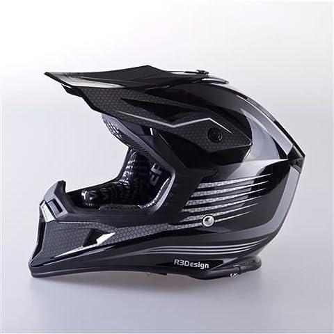 Viper RS-X95RAZR CARBON Motocross Off Road Enduro MX ATV Quad Adventure Adult Casco, Donna uomo, Black, L