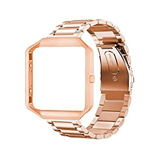 AFISC Wrist Band Kit for Fitbit Blaze Tracker 23mm Stainless Steel Band Strap with Lugs + Watch Frame + Tool, Rose Gold