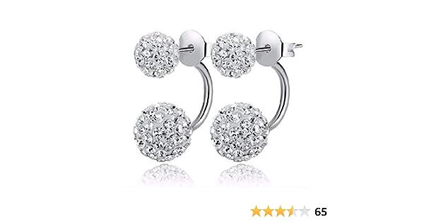 LJSLYJ Double Side Earring Jewelry Alloy Earrings Crystal Ball Women Double Stud Earrings