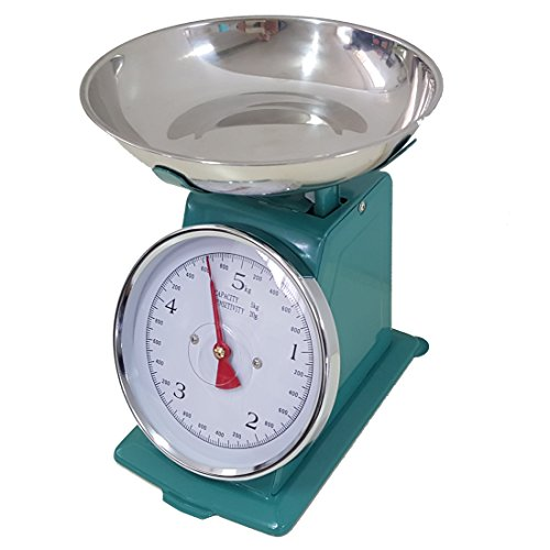 Bilancia VERDE ACQUA da cucina 20 KG meccanica analogica con stile retro' in metallo con piatto in acciaio, EURONOVITA'